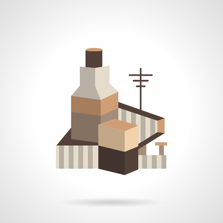 storage facility: Cereal or grain factory. Flat vector icon. Storage facility cereals, silos and drying towers. Design symbols for website and business.