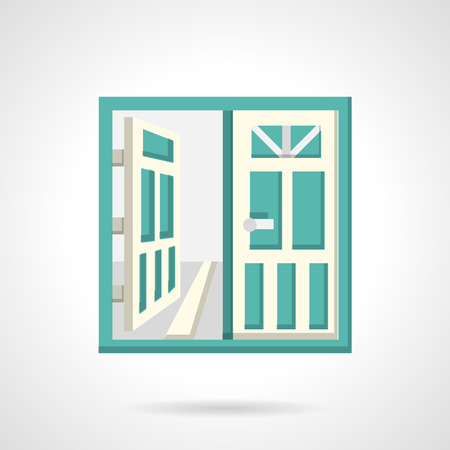 double entry: Double glass doors with white frame. Flat vector icon. Sign for real estate, rent of property. Design symbols for website and business. Illustration
