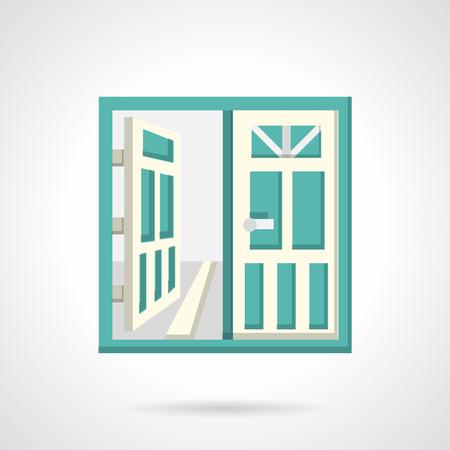 puertas de cristal: Puertas de vidrio doble con marco blanco. Vector icon plana. Reg�strate para bienes ra�ces, alquiler de la propiedad. S�mbolos de dise�o para el sitio web y los negocios.