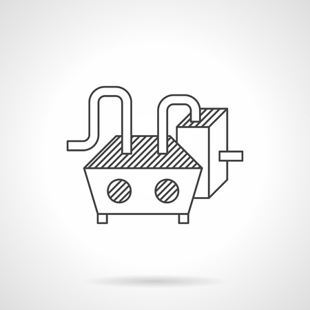 food industry: Chocolate processing machine with tank. Flat line vector icon. Equipment and machinery for food industry. Design symbols for website and business. Illustration