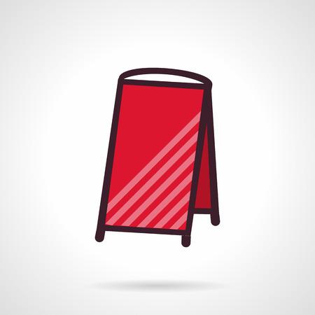 portative: Vuotare cartello rosso la mobilit�. Appartamento vettore icona di stile. Esempio per la pubblicit� esterna. Simboli di design per sito web e business. Vettoriali