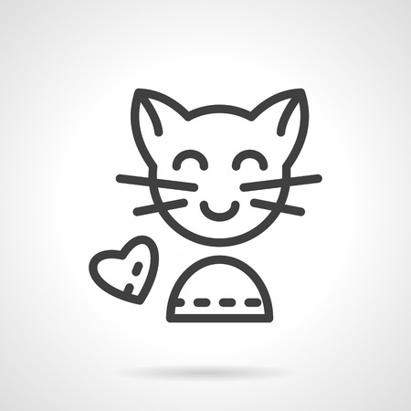 smiling cat: Cute smiling cat and heart sign. Simple line vector icon. Love animals concept. Design symbols for website and business.
