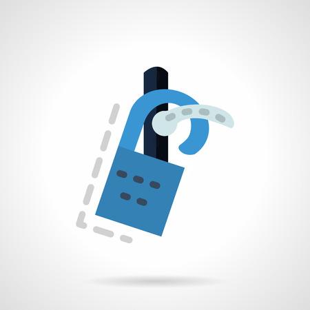 소요: Abstract do not disturb sign hanging on door handle. Flat color vector icon. Sign for hotel, real estate. Design symbols for website and business.