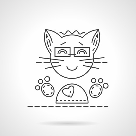 modern lifestyle: Cheerful smiling cat with glasses. Flat line style vector icon. Cartoon animals, modern lifestyle concept. Design symbols for website and business.