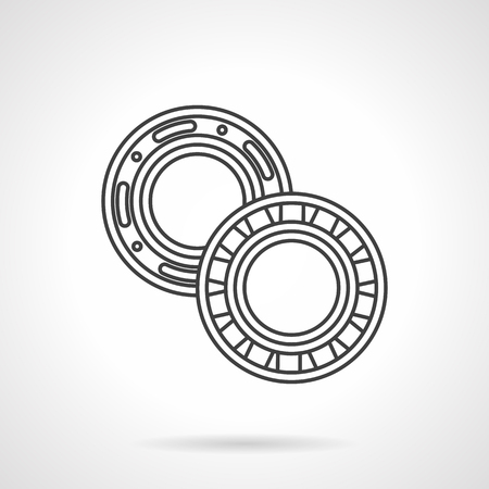 Roller and ball bearings. Flat line style vector icon. Parts and components of different mechanisms. Design symbols for website and business. Vectores