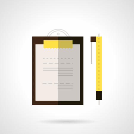 office supply: Document on brown clipboard with yellow holder and yellow pen. Flat color vector icon. Signing of contracts, office supply, paperwork.  Design symbols for website and business. Illustration