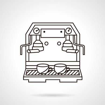 professional equipment: Flat outline design vector icon for coffee machine. Professional equipment for beverages preparing. Elements of web design.
