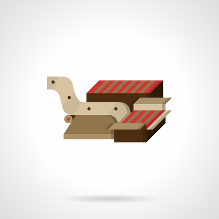 packaging equipment: Food processing equipment flat color style vector icon. Part of conveyor for packaging chocolates. Elements of web design. Illustration