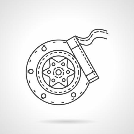 brake pad: Disk brake mechanism for car. Flat line design vector icon. Sign for repair service. Elements of web design.