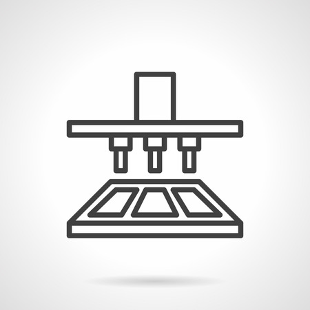 food factory: Chocolate production equipment in industrial factory. Simple line vector icon. Automatic process. Elements of web design. Illustration