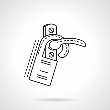 inconvenience: Door handle with hanging label. Flat line design vector icon. Sign and symbols for hotel business. Elements of web design.