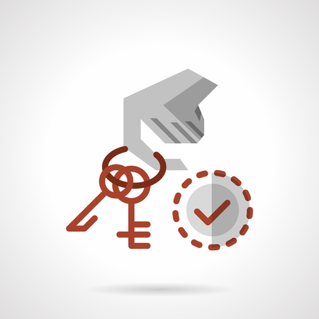 rent house: Hand holds on finger red keyring with keys and checked sign. Flat color style vector icon. Rent house and house for sale concept. Elements of web design for business.