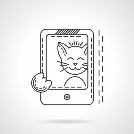business life line: Smiling cat taking selfie photo with smartphone. Flat thin line style vector icon. Pets modern life. Elements of web design for business.