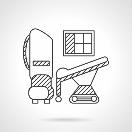 xray machine: MRI machine, table, monitor. Thin line style vector icon. Medical equipment. Elements of web design for business.