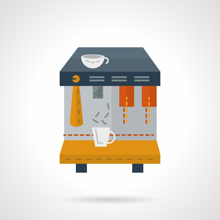 dispense: Coffee machine with white cups. Flat color style vector icon. Service of rent for coffee making equipment. Elements of web design for business. Illustration