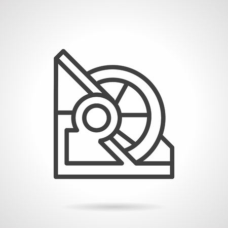 mooring anchor: Flat simple line vector icon for winch mechanism. Equipment for sea vessels, harbor.  Elements of web design for business. Illustration