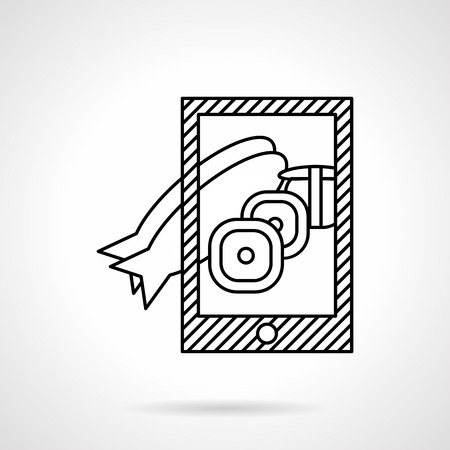 taking photo: Taking photo fish dish with smartphone. Flat line design vector icon. Modern lifestyle concept. Elements of web design for business.
