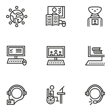 capabilities: Elements and symbols for online education. Flat line simple vector icons set. Modern technologies and capabilities. Web design elements for business. Illustration