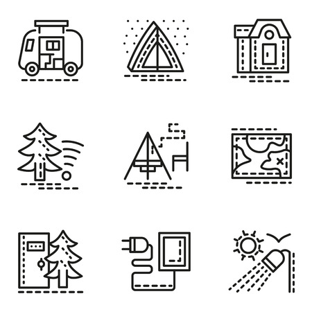 Symbols Of Comfort Camping Flat Line Style Vector Icons Set