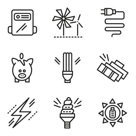 save electricity: Ecology symbols, saving energy concept. Flat simple line vector icons set. Alternative energy, solar battery, piggy bank, saving light bulbs. Web design elements for business. Illustration