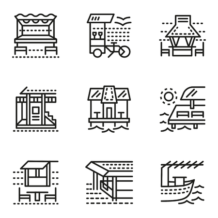 coastline: Set flat simple line style vector icons for cafe and bungalows. Coastline, travel destinations. Web design elements for business. Illustration