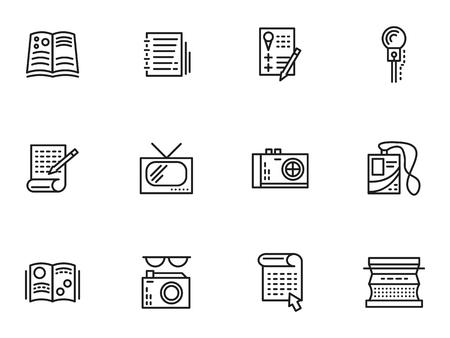 medios de comunicación social: Símbolos de la publicación de los medios de comunicación. Iconos línea simples del vector fijados. Periodismo, reportajes, entrevistas y publicaciones. Elementos de diseño web para los negocios.