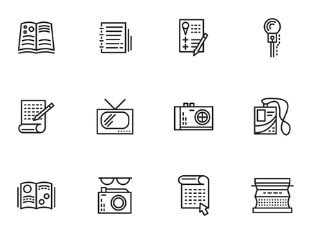 Symbols of media publishing. Simple line vector icons set. Journalism, reports, interviews and publications. Web design elements for business.