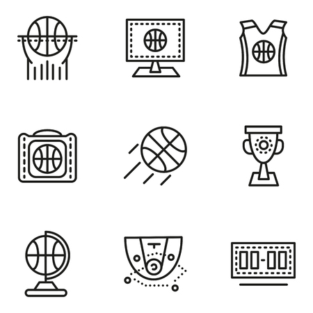 sport wear: Set of black simple line vector icons for basketball. Scoreboard, game tactics, cup, sport wear. Web design elements for business.