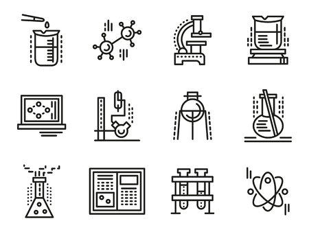chemistry: Chemistry objects, symbols for education. Simple line vector icons set. Test-tubes, bulbs, burners, reaction sign, lab equipment. Web design elements for business.
