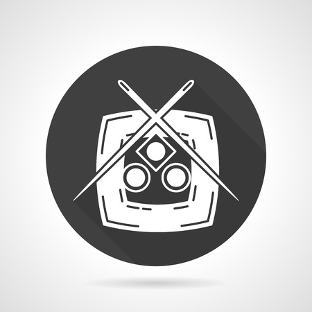 sushi  plate: Black round vector icon with white silhouette plate with sushi set and chopsticks. Symbol for sushi menu, seafood delivery. Design symbols for business and website.