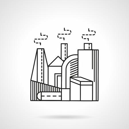 kompost: Anlagen und Fabriken. Herstellung von Minerald�nger. Flache Linie Vektor-Symbol. Design Symbole f�r Business und Website.