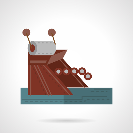 mooring anchor: Mooring mechanism. Flat color style vector icon for marine objects. Design symbols for business and website.