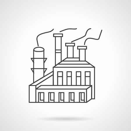 industrial complex: Industrial structures and complex. Paper and pulp manufacturing. Flat line style vector icon. Design symbols for business and website.
