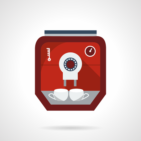 office appliances: Modern red coffee machine with two white cups. Flat color style vector icon. Appliances for cafe, office or home. Design symbols for business and website. Illustration