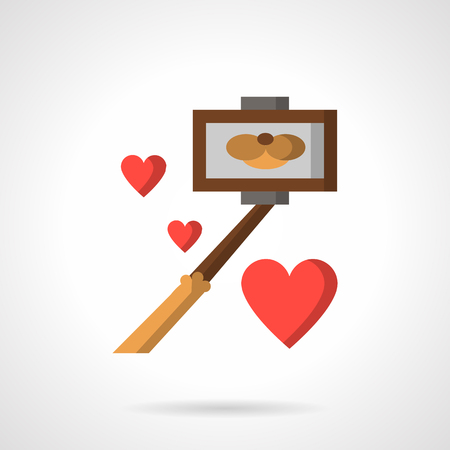 modern lifestyle: Selfie stick or monopod with photo of cat smile and red hearts around. Flat color style vector icon. Modern lifestyle concept. Design symbols for business and website.