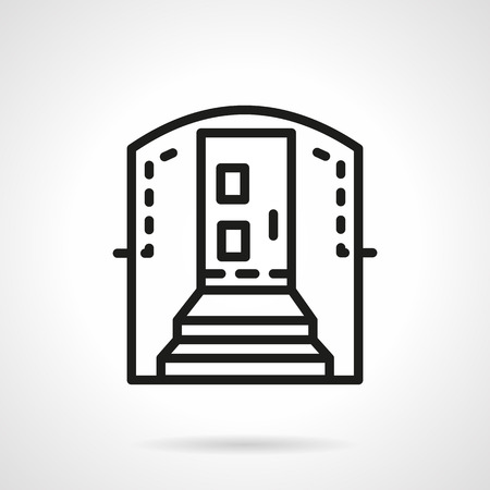 archway: Entrance with stairs and archway. Flat black simple line style vector icon. Mortgage and housing concept. Design symbols for business and website.