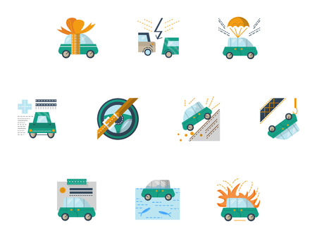 gift accident: Set of flat colorful vector icons for car insurance. Different cases insurance. Elements of web design for business. Illustration
