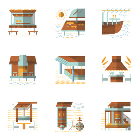 coastline: Set of samples for coastline cafe and bungalows. Flat color style vector icons. Summer rest, service buildings. Elements of web design for business.