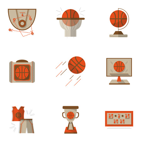 tactic: Red and brown flat style vector icons set for basketball. Ball, scoreboard, game tactic, competition. Command sport. Elements of web design for business. Illustration