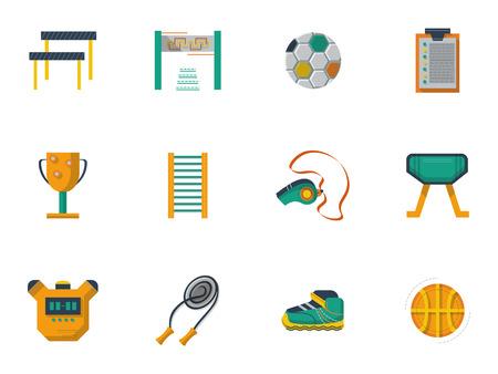 educacion fisica: Conjunto de iconos de estilo vector planos y las indicaciones para la educaci�n f�sica y la cultura. Utillaje y equipo para ejercicios y gimnasio. Materias escolares, elementos de dise�o web para los negocios. Vectores