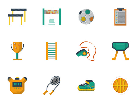 physical education: Set of flat style vector icons and signs for physical education and culture. Sport equipment for exercises and gym. School subjects, Elements of web design for business.