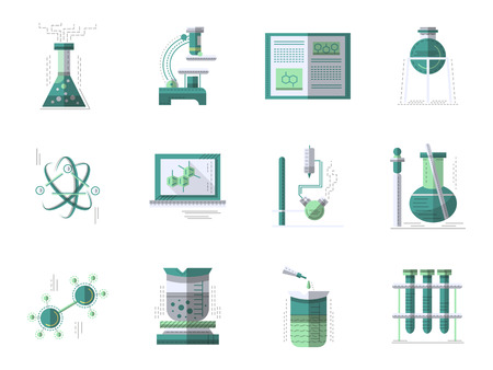 science education: Set of flat color style vector signs and icons for chemistry. Laboratory equipment, test and research. Science symbols. Elements of web design for business.
