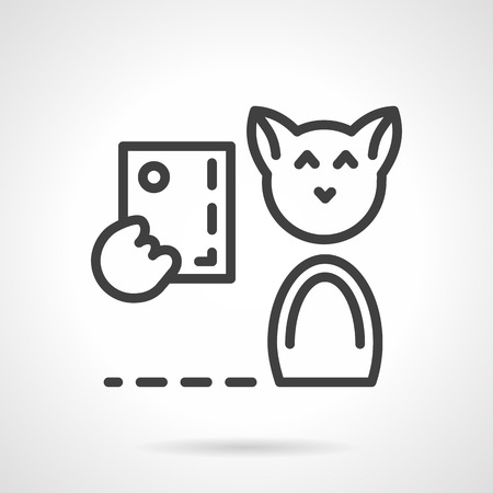 smiling cat: Cute smiling cat taking self photo. Simple line vector icon. Modern pets, sharing in social network. Design symbols for business and website.