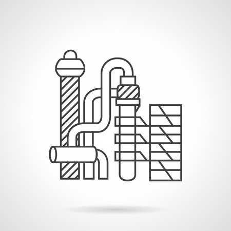 petrochemical: Industrial buildings and complex. Petrochemical plant. Flat thin line vector icon. Design symbols for business and website. Illustration