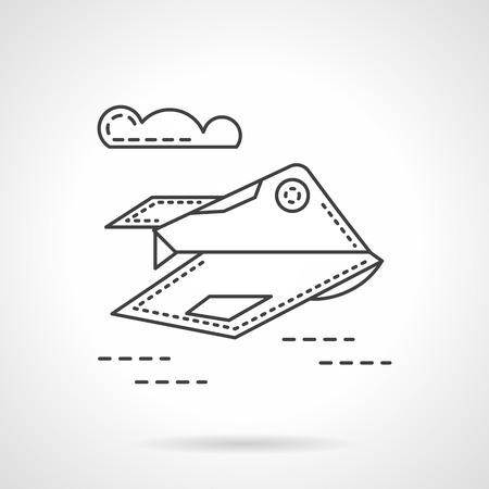 unmanned: Aerial unmanned vehicle flying in the sky. Thin line style vector icon. Military drones. Design symbols for business and website. Illustration