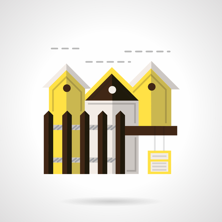 for rental: Houses row with brown fencing. Flat color style vector icon for rental of housing. Design symbols for business and website.