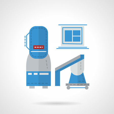 xray machine: MRI machines and computer. Scanning equipment for MRI laboratory. Flat color style vector icon. Design symbols for business and website. Illustration