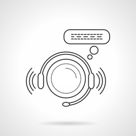 telemarketer: Headphones with microphone and speech. Flat line style vector icon. Online service and support sign. Design symbols for business and website.