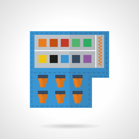 art painting: Set of colorful watercolor and gouache paints. Flat color style vector icon. Items for art, painting, drawing. Design symbols for business and website.