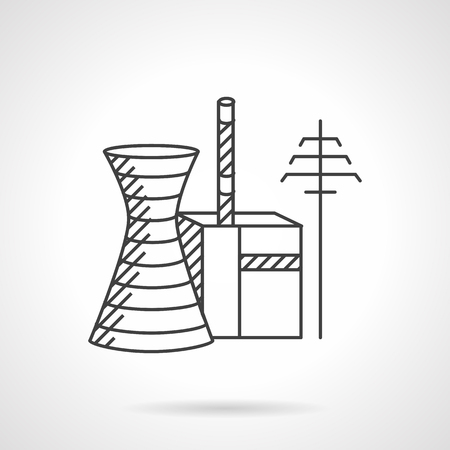 power industry: Power industry structures. Thermal power plant. Flat line style  vector icon. Design symbols for business and website.
